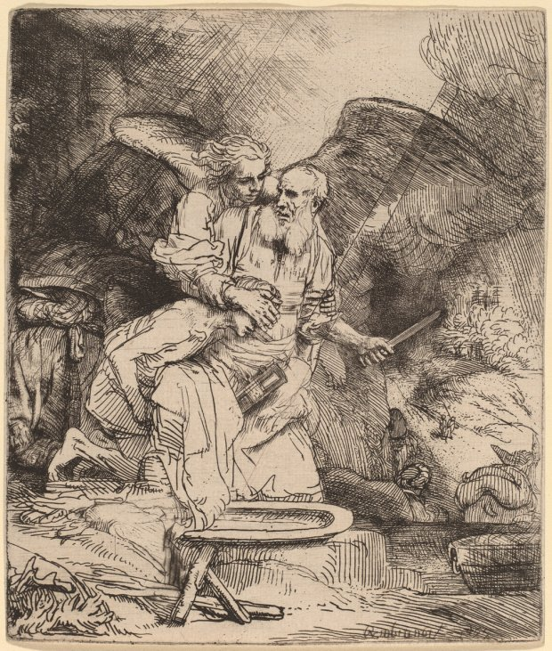 Rembrandt van Rijn (Dutch, 1606 - 1669 ), Abraham's Sacrifice, 1655, etching and drypoint, Rosenwald Collection