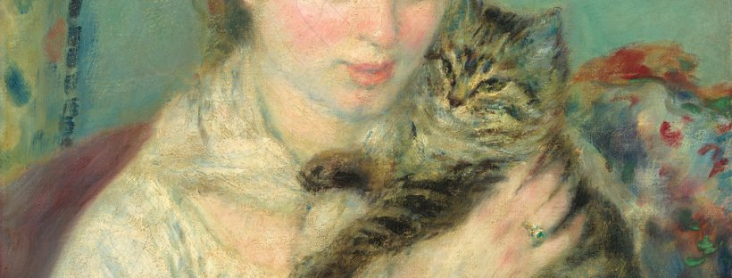 Auguste Renoir, Woman with a Cat, French, 1841 - 1919, c. 1875, oil on canvas, Gift of Mr. and Mrs. Benjamin E. Levy
