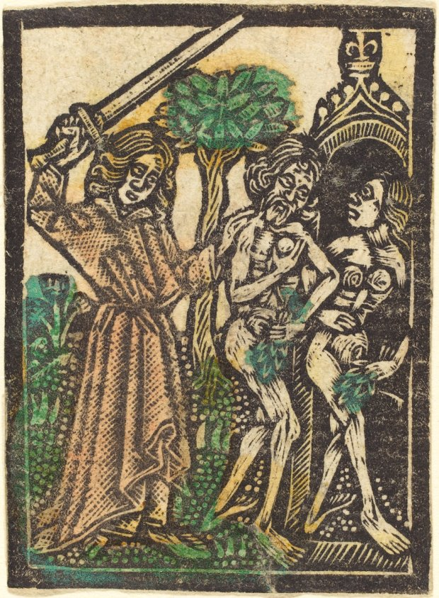 Workshop of Master of the Aachen Madonna, The Expulsion from the Garden of Eden, 1460/1480, metalcut, hand-colored in green, red lake, and yellow, Rosenwald Collection