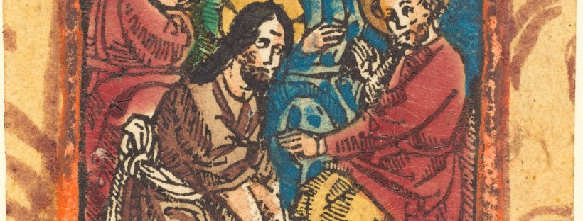 German 15th Century, Christ Washing the Feet of the Apostles, c. 1490/1500, woodcut, hand-colored in red lake, dark blue, and lilac, Rosenwald Collection