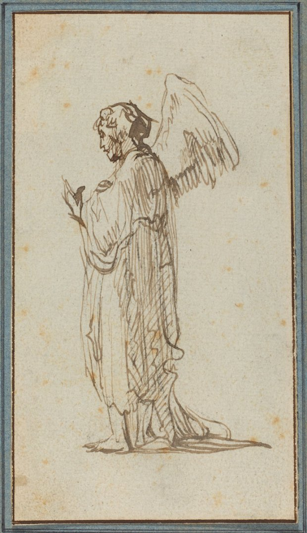 Attributed to Rembrandt van Rijn (Dutch, 1606 - 1669 ), Angel Standing, , pen and brown ink on laid paper, Widener Collection