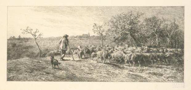 """L'arrivée au champ"" by Charles Emile Jacque, New York Public Library Digital Collections."