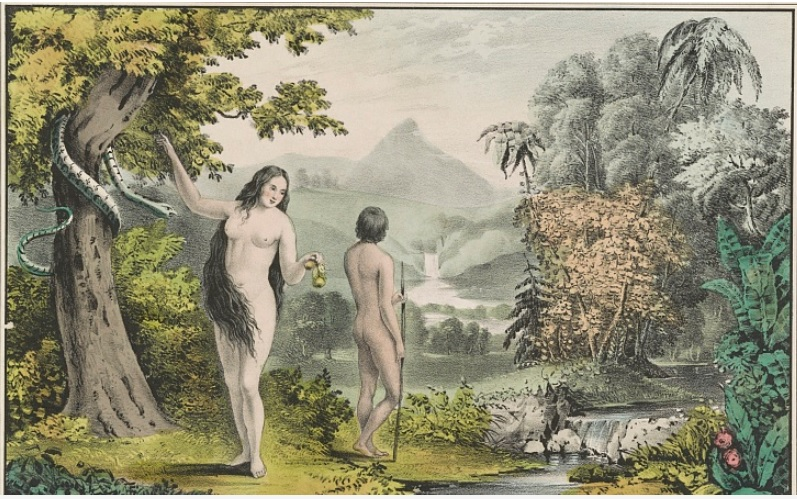 Library-of-Congress_Currier-and-Ives_lithograph-hand colored-Adam&Eve in-th-Garden-of-Eden_LC-DIG-pga-05753